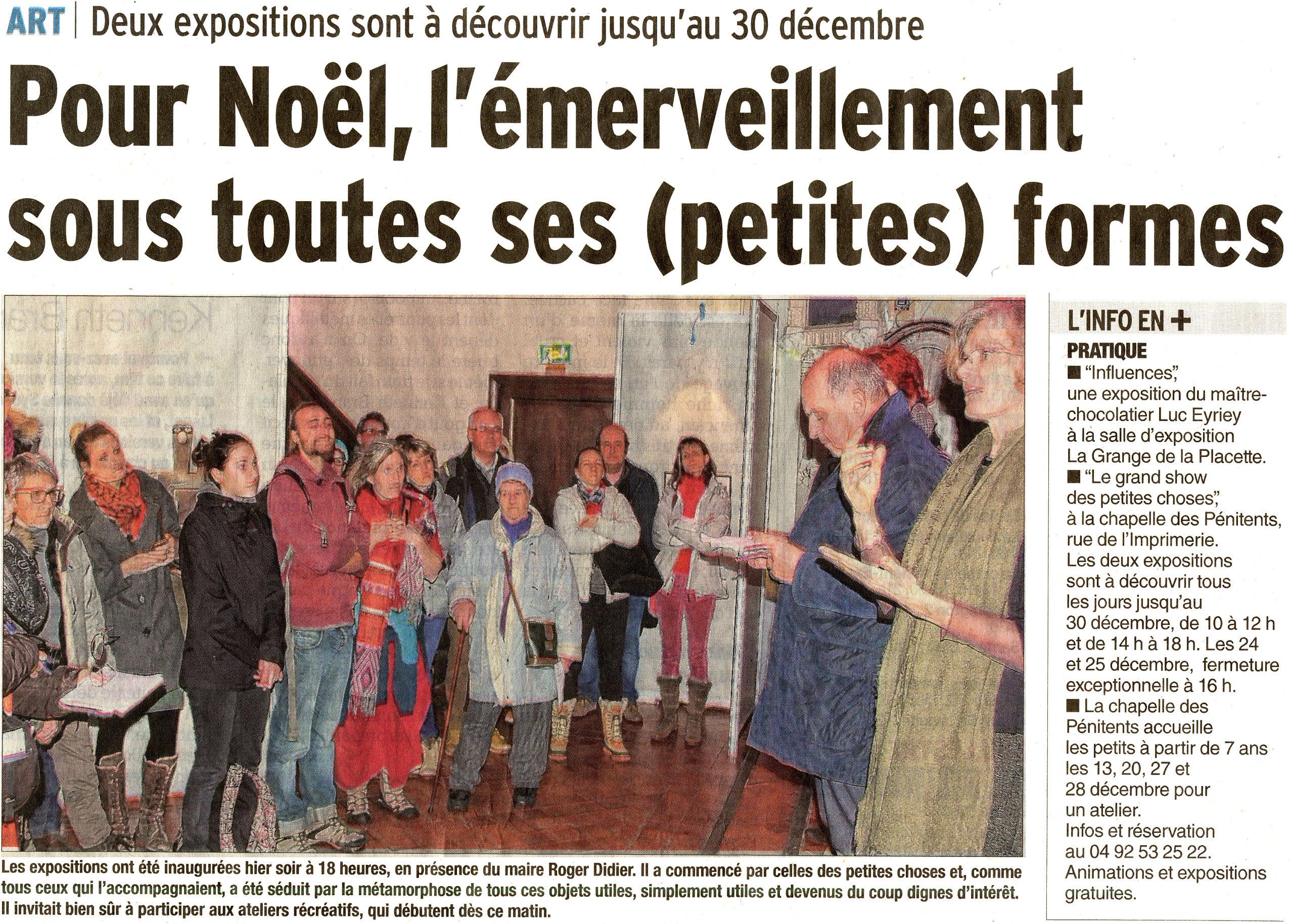 Dauphiné Libéré 20171213 partie 1 Expositions de Noël 2017