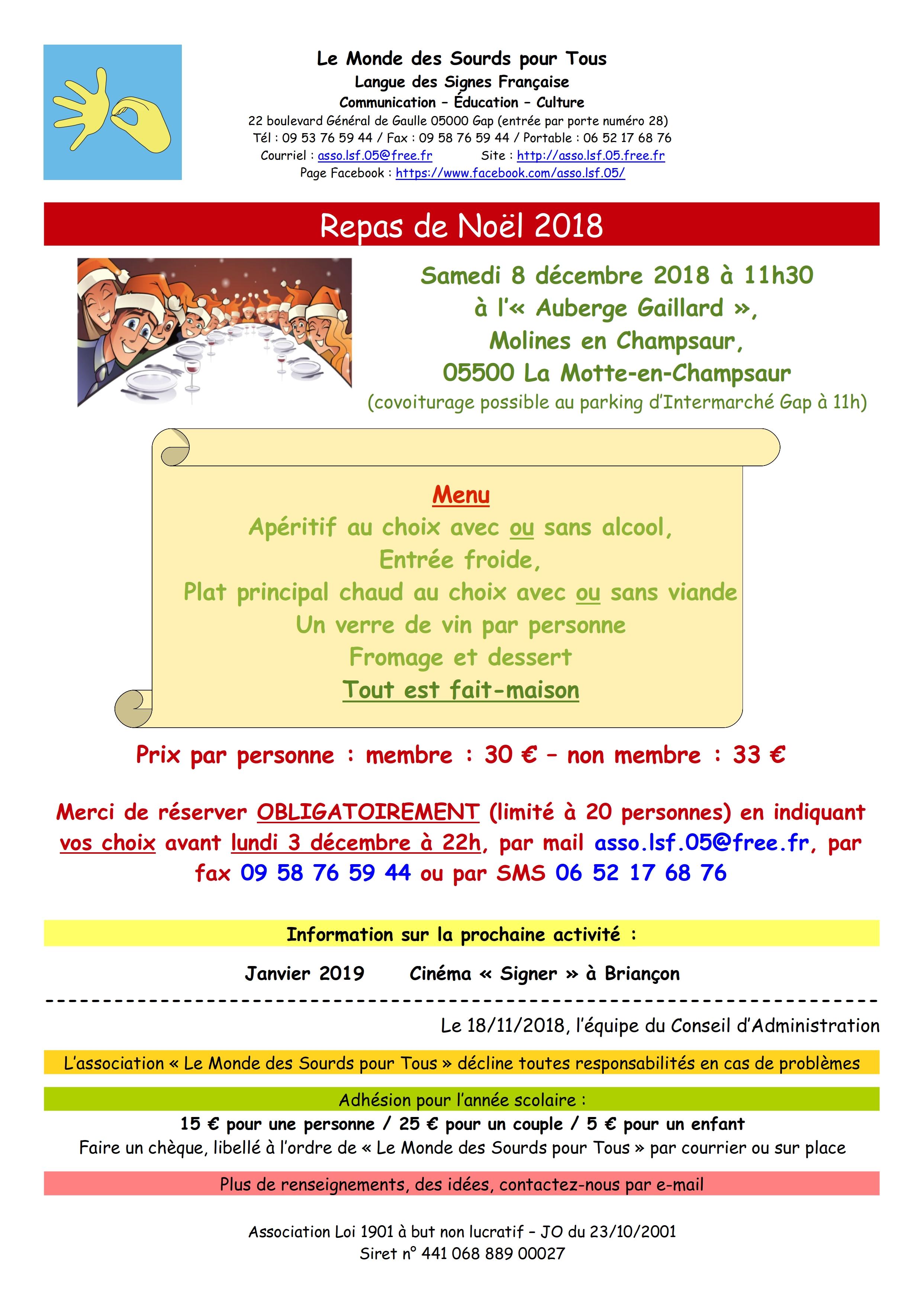 Repas de Noël 2018 de l'association Le Monde des Sourds pour Tous à l'Auberge Gaillard
