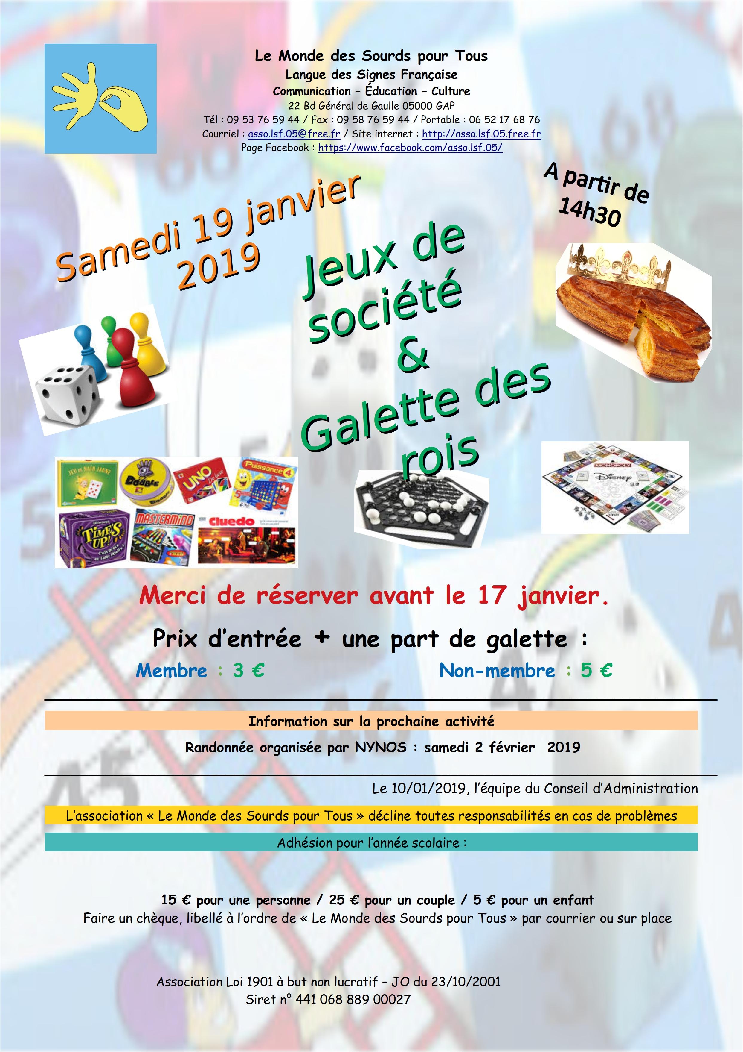 Affiche Jeux de société et Galette des Rois le samedi 19 janvier.