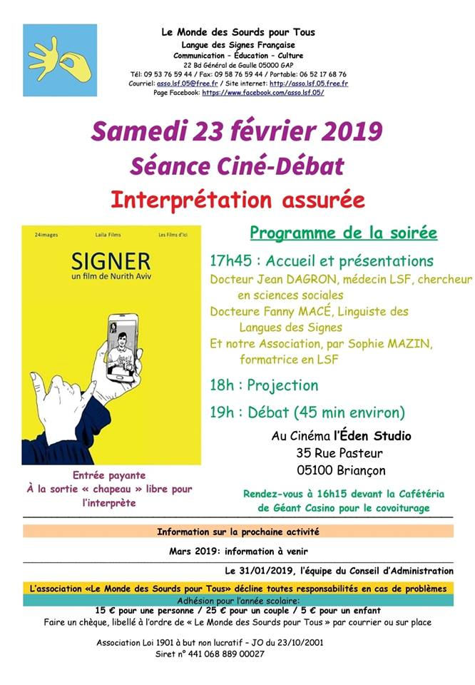 "Projection du film ""Signer"""