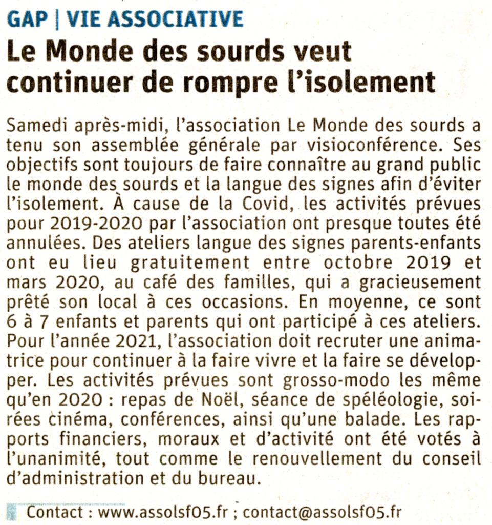 Dauphiné Libéré Assemblée Générale 2020