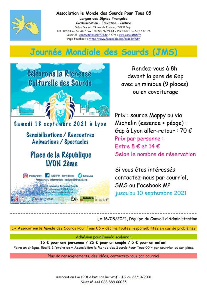 Affiche Journée Mondiale des Sourds Lyon 2021