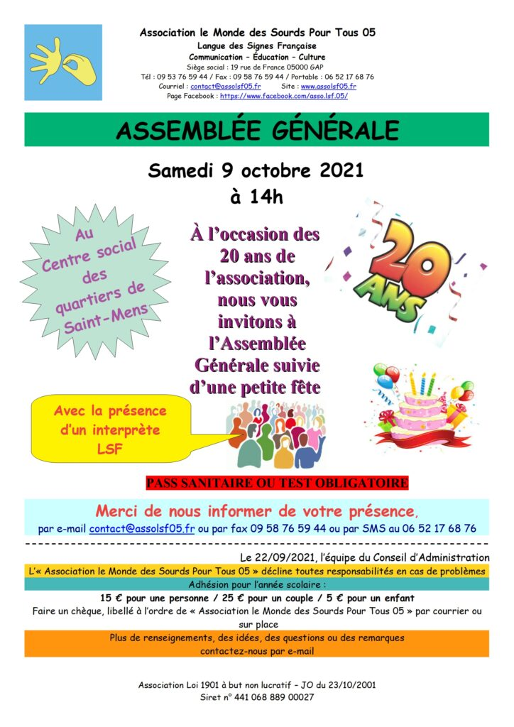 Affiche Assemblé Générale 2021